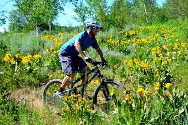 Man biking in Steamboat Springs, CO